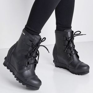 Sorel Joan Rain Moto Wedge Black Combat Boot